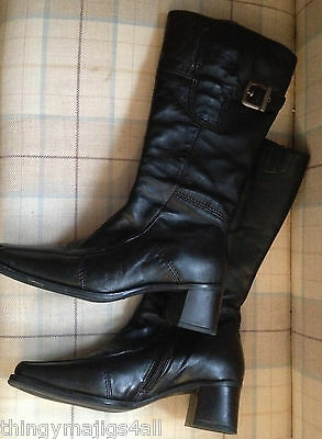 Ladies Clarks Black Calf Length Leather Boots, Size 3 / 36. Great Condition!