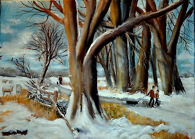 Art Original oil painting -   A Winter  landscape  by  Gary Haigh