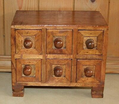 "Small vintage Style Very Solid Wood Mini Chest of 6 Drawers 6.5"" x 8"" x 5.5"""
