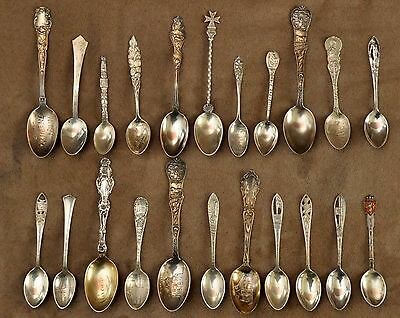 Antique 22 Sterling Silver Souvenir Spoon Collection 44 Pictures
