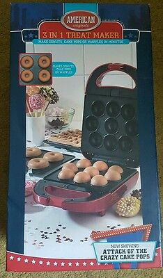 3 In 1 Treat Maker Doughnuts Cake Pops Waffles Donuts Gift American Baking