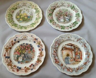 Set of 4 Brambly Hedge Spring, Summer, Autumn, Winter Seasons Tea Plates - 1st