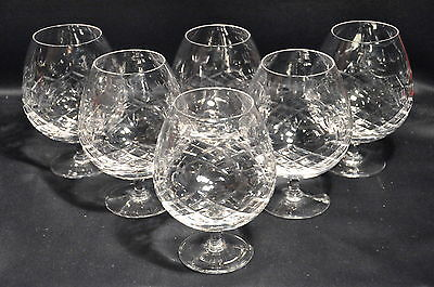 Set Of 6 Large Lead Crystal Cut Glass Brandy Balloon Glasses