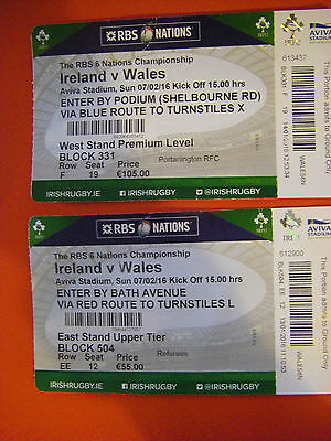 Two Rugby Six Nations Ireland Wales Lansdowne Rd 7th February 2016 Used Tickets