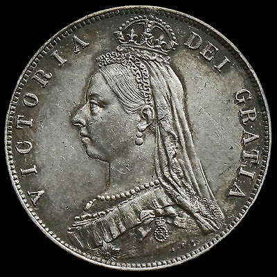 1889 Queen Victoria Jubilee Head Silver Half Crown, Scarce, EF