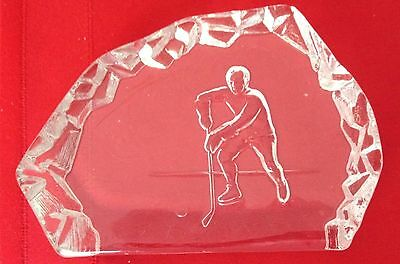 Hockey Paperweight  LE Smith Glass (Mt Pleasant PA) imperfect  7-1/4X5-1/4X1-1/8
