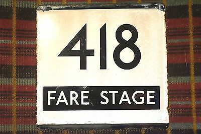 London Transport Country Area Bus Stop E-Plate : Route 418 Fare Stage