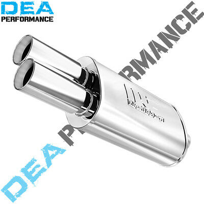 "Muffler Magnaflow Stainless 2.25 Inlet 14"" Long Oval Twin 3"" Tips """