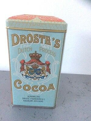 Vtg Aqua And Red Droste's Dutch Cocoa Pound Tin Canister For Kitchen Storage