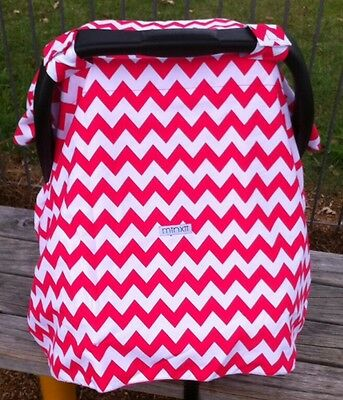 Bright Pink Chevron Minky Car Seat Capsule Canopy Cover