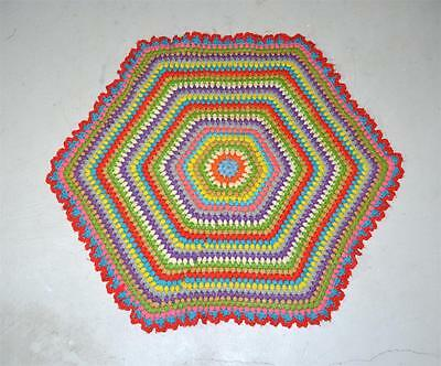 Small Vintage Multi Colored Round Six Sided Octagon Shape Crochet Rag Rug