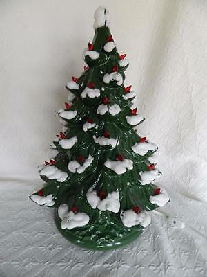 """Vintage Ceramic Christmas Tree 17"""" Lights Up Large Holly Base Red Bulbs"""