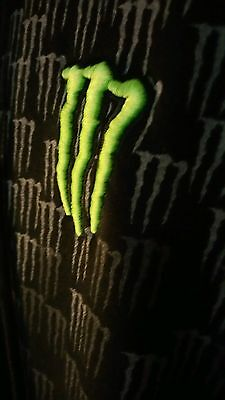 Monster Energy Embroidered Green M & Collage Black Zip Up XL Hoodie Sweatshirt