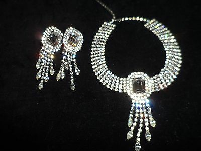 Vintage Antique Set Choker Necklace Clip On Earrings Rhinestone Crystal Holiday