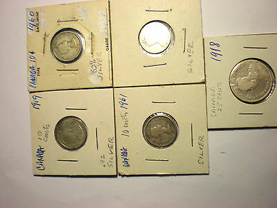 Lot of 5 old Canada Canadian silver coins  Lot D
