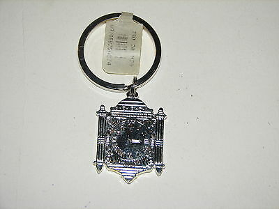 Marshall Field's Metal Silver Famous Clock Keychain Key Chain Ring NOS New w Tag