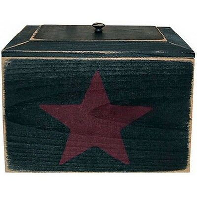 Country Primitive Syle Black Painted Wood Recipe Box With Red Star Made in USA