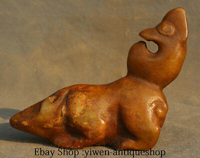 7' ' Rare Curio China Hongshan Culture Old Jade Carving People Ride Mouse Statue