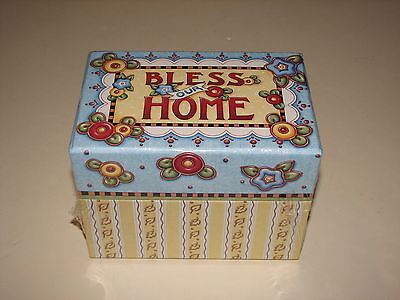 Punch Studio Mary Engelbreit Recipe Card Box Bless Our Home Flowers New Sealed