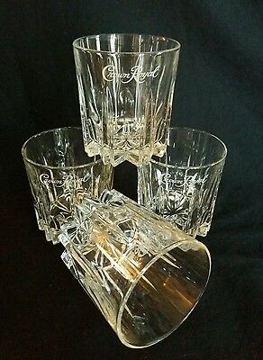 Crown Royal Whiskey Low Ball Italy Etched Rocks Drinking Cut Glasses SET of 4
