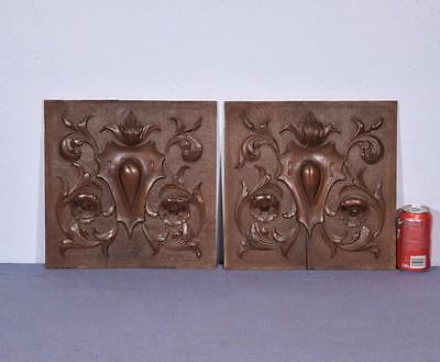 *Pair of French Antique Carved Architectural Panels in Walnut Salvage