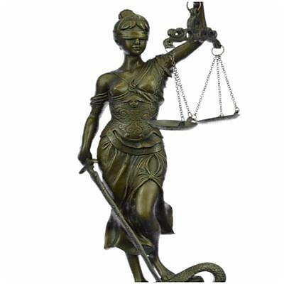 """Bronze**DEAL** Sculpture**SALE**Statue Large 14"""" Heavy Solid Lady Blind Justice"""