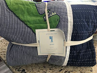 Pottery Barn Kids Dino Dinausaur  Quilted Twin quilt Boys  Gray Blue New