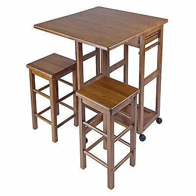 Home Furniture Table Set Wheels 2 Square Stool Chair Kitchen Dining Patio Small