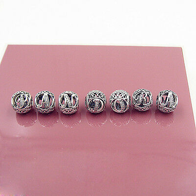 PANDORA Authentic sterling silver Alphabet Collection Name Letter Charm Beads