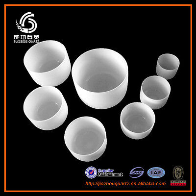 "432Hz Chakra Tuned Set of 7 Frosted Quartz Crystal Singing Bowl 7"" - 14"""