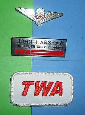 Twa Airlines Customer Service Agent Name Tag Hat Cap Patch Jr Kiddie Wings Lot