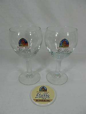 Pair Of Leffe Large Stemmed Beer Glasses And Porcelain Draft Tower Medallion Set