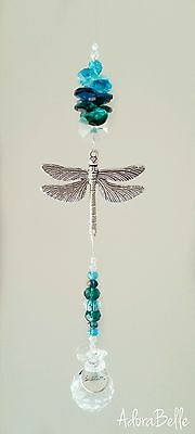 Dragonfly Dream Large Charm Teal Blue Green Hanging Crystal Ball Suncatcher