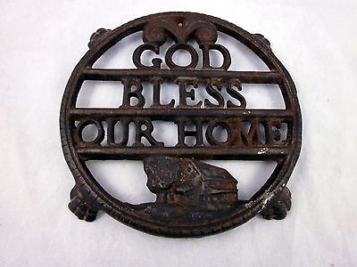 "Vintage God Bless Our Home 4.5"" Wide Cast Iron Trivet With Barn & Tree Paw Feet"