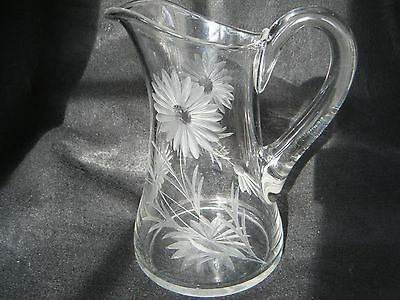 Vintage Glass Pitcher W/Etched Daisy's