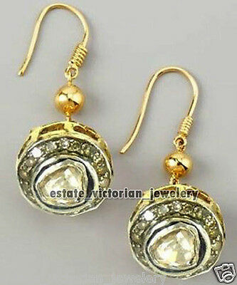 Vintage Victorian 1.48Cts Rose Antique Cut Diamond .925 Silver Jewelry Earring