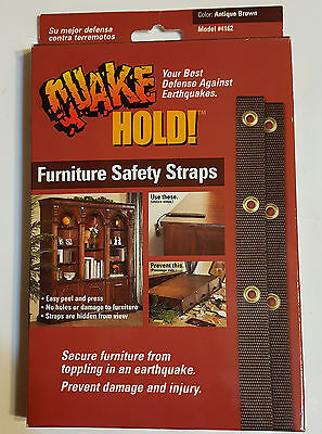 Quakehold! 4162 15-Inch Furniture Strap Kit, Antique Brown UPC 753962041627 New