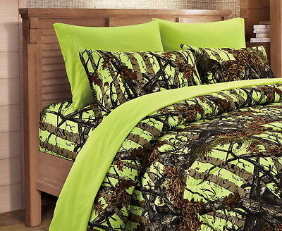 7 Pc Lime Camo Queen Bedding Set! Comforter Sheet Camouflage Curtains Neon Green