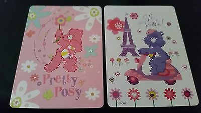 2 Swap playing Cards Comic Care Bears Scooter eiffel Tower France Paris Flowers