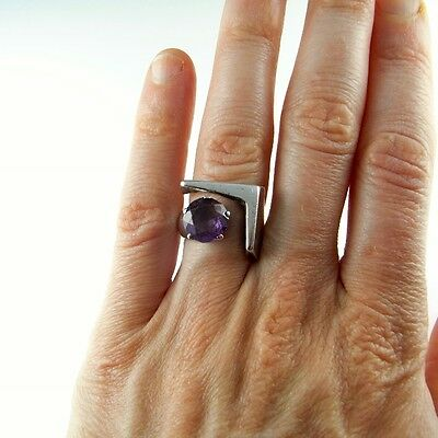 Purple Sapphire Sterling Silver Mid Century Modernist Ring Unisex Mens Signet