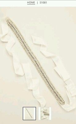 David's Bridal Embellished Satin Grosgrain Sash,  S1081, Ivory ($199.95)