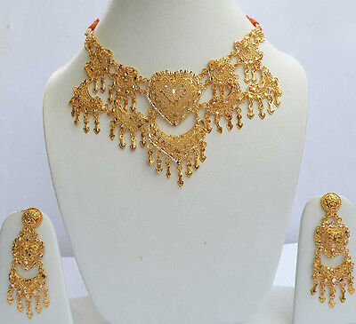 Indian Dance Saree Jewelry Wedding 22kGoldPlated Designer Necklace Earrings #101