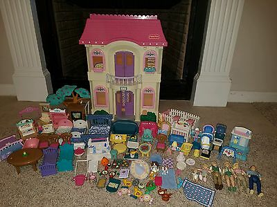 Fisher Price Vintage Loving Family 4649 With Figures Furniture So Much Stuff!!