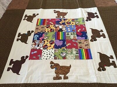 """handmade quilt 'little Dogs' 48"""" X 48"""" With Appliqué"""