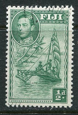 Fiji: 1938 George VI 1/2d stamp Extra Palm Frond Flaw SG249ba Fine Used AD037