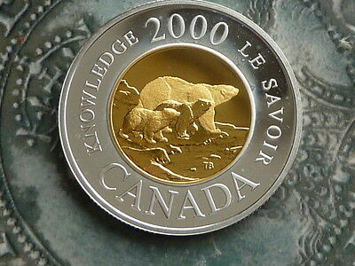 canada 2000 2 dollars .925 silver proof polar bears coin 8.81g 28mm no coa genui