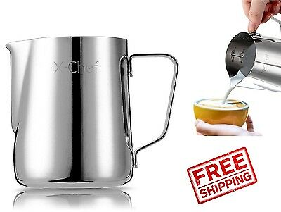 Milk Frothing Pitcher 20 Oz Stainless Steel Espresso Coffee Jug Latte Cup