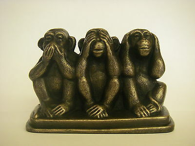 Three Wise Monkeys On A Base / Bronze Ornament Figurine