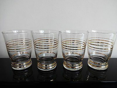 4 Vintage Retro 1950S Tumblers / Glasses With Gold Concentric Bands