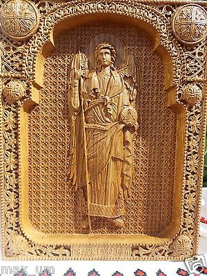 Archangel Gabriel Wood Carved Christian Icon Religious  Wall Hanging Art Work